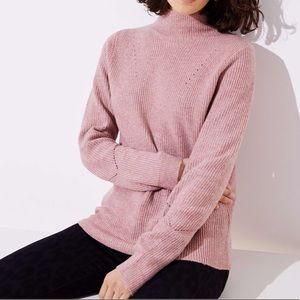 LOFT Pink Mock Neck Zipper Back Sweater
